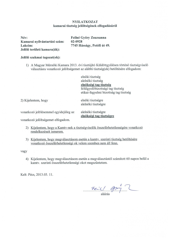 önéletrajz aláírás Magyar Mérnöki Kamara Geodéziai és Geoinformatikai Tagozat önéletrajz aláírás